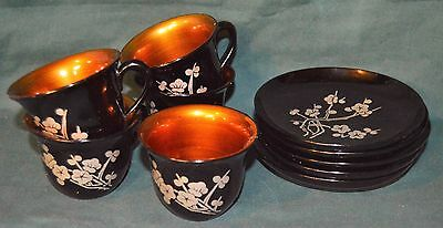 Set of 5 Vintage Lacquer Ware Tea Cups & Matching Saucers Floral Pattern