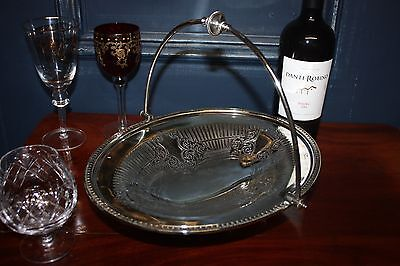Antique Stunning Plate Silver Chased  Victorian English  Fruit Server Tray