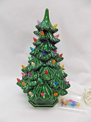 Green Ceramic 11 In Christmas Tree Fired Gloss Glaze Multi color lights Wiring