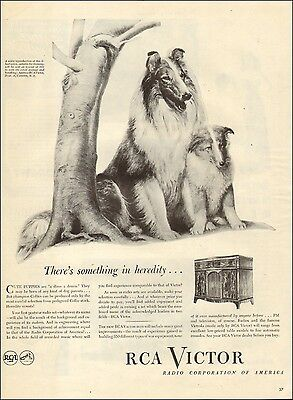 1945 WW2 era AD RCA VICTOR Console Radios Victrolas, Art Collie mom & pup 031817