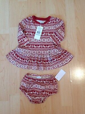 Polo Ralph Lauren Girl's Red Snow Flakes Dress & Knickers For 3 Months BNWT