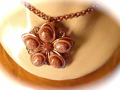 Fashion jewelry MID CENTURY GOLD STONE COPPER BIG CHUNKY FLOWER STYLE NECKLACE