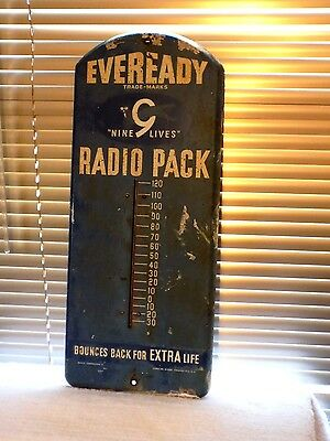 "Vintage 21"" Eveready Nine Lives Radio Pack Thermometer Rare Find One"