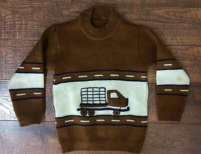 Vintage Children's 4T Brown Tan Long Sleeve Truck Car Roads Sweater Fall Winter