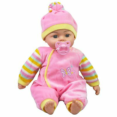 "18"" Soft Bodied New Born Baby Doll Toy with Dummy and Crying Talking Baby Sounds"