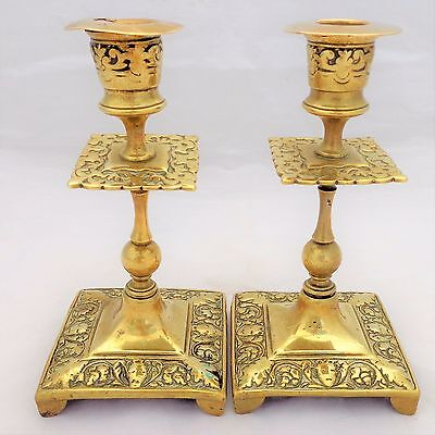 Pair Antique Arts & Crafts Cast Brass Candlesticks Square Base Mask Heads c 1900
