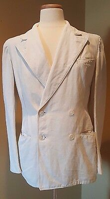"""Rare-Vintage 1920's Palm Beach Dbl Breast linen suit made of the """"Genuine Cloth"""""""