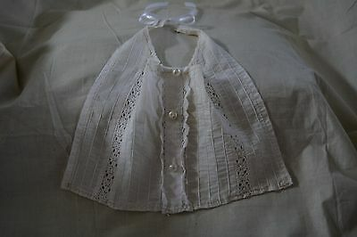 Vintage Handmade Baby Bib Ecru and Lace with White Ribbon Tie Looks Antique