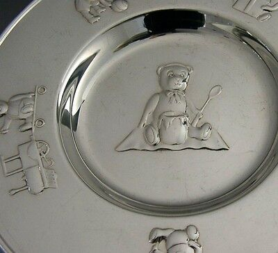 TOP QUALITY STERLING SILVER TEDDY BEAR CHRISTENING BOWL / DISH / PLATE 1997 124g