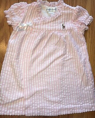 Baby Girl Ralph Lauren Polo Pink & White Striped Dress Size 3 Months