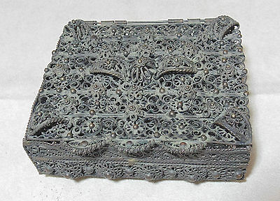 ANTIQUE 19th CENTURY VICTORIAN ERA BRONZE BRASS FILIGREE JEWELRY BOX CHEST