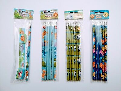 Themed Children's Pencils with Erasers, Party Bag Fillers *SELECT DESIGN & QTY*