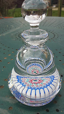 """Antique English millefiori footed inkwell HG Richardson? 6"""" high pear-shaped"""