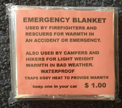 "Emergency Mylar Thermal Blanket (Pack of 11) 84"" x 52"" camping, Boy scouts, NEW"