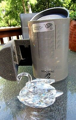 "Swarovski Crystal Swan Figurine With The Box  #7633  3""x3""x2"""