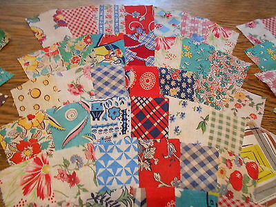 Vintage Antique 30 Grandmothers Fan Quilt Blocks Cotton Feed Sack 5 3/4X13 1940s