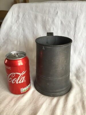 Antique Victorian Pewter Quart Tankard With Stamps, Very Dark Patina