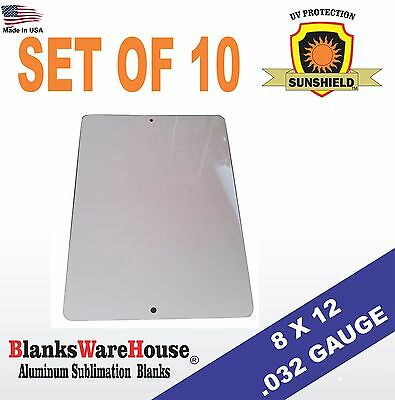 """10 Pieces PARKING SIGN  ALUMINUM  SUBLIMATION BLANKS 8"""" x 12"""" / WITH HOLES .032"""