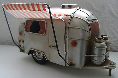 Camper Van Ornament  Tin Plate Model  Hand Painted/ Silver / Ornament /Gift