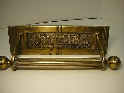 Vintage Brass Hinged Door Mail Letter Slot marked WT8S Art Deco Style w/ handle