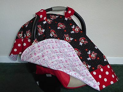 **MINNIE MOUSE** w/ Polka Dots  Handmade Baby Car Seat Canopy-Cover