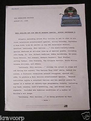 Phil Collins 'Tv Special' 1990 Press Release