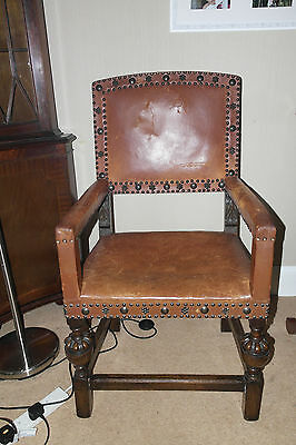 vintage oak and leather armchair