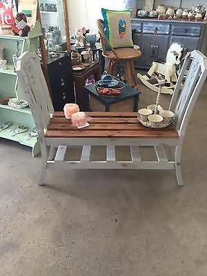 Lovely Hall Seat Stand Bench Repurposed Antique Chairs Shabby Chic