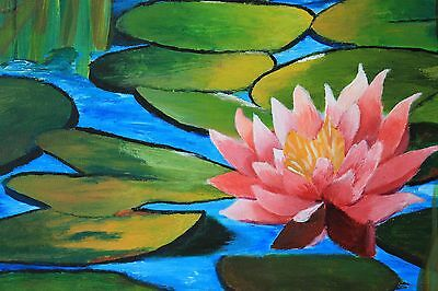 Water Lily, 16-Inch by 12-Inch Hand Painted Acrylic Painting on Canvas