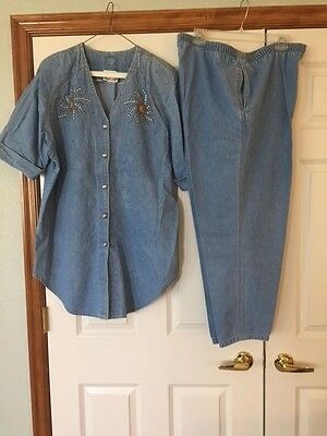 Denim Two-Piece Outfit - Size 1X