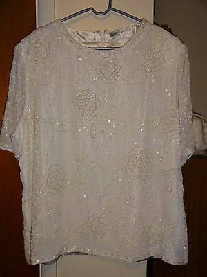 Cute Women's White Beaded S. Sleeve top sz 26 ~ Mother of the Bride/Groom