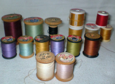19 Vtg LILY Wooden Thread Spools 6 cord Mercerized Boil Proof 12 are wood USA