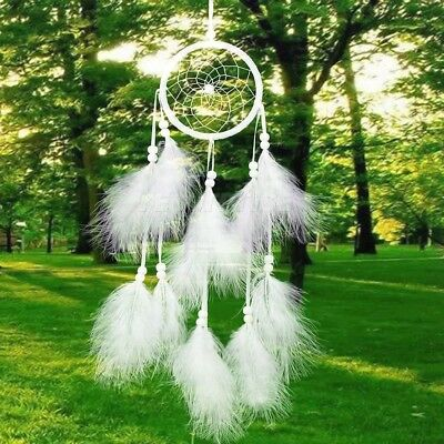 Handmade Dream Catcher White Feather Wall Car Hanging Home Decoration Ornament