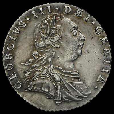 1787 George III Early Milled Silver Sixpence, No Hearts, AEF / EF