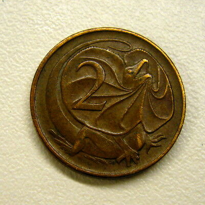 1966 Circulated 2 Cent Australian Coin