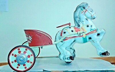 Vintage Mobo Pony Express Tin Pedal Car Horse Sulky ~ 1940s or 50s