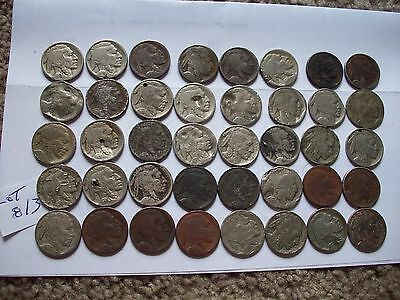 lot of 40 ugly buffalo nickles with dates