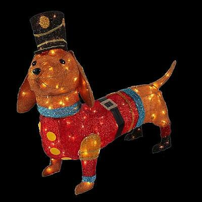 40 In. Lighted Tinsel Dachshund puppy Dog In Toy Soldier Uniform Christmas Yard