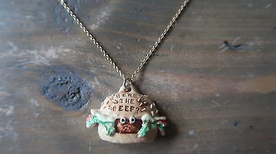 Vintage WENDY'S Where's The Beef Necklace 18 inch