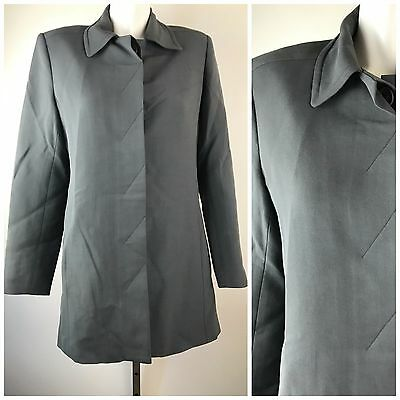 Katayone Adeli Worsted Wool Blazer Gray Hidden Button Women's Lined Size 10