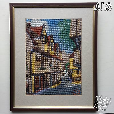 Embroidered Picture of an Idyllic Town Street