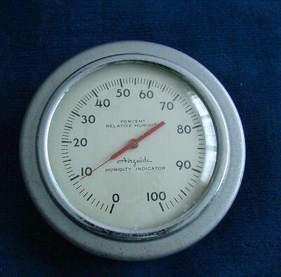 """VINTAGE AIRGUIDE 4.5"""" Silver Metal Percent Humidity Indicator"""