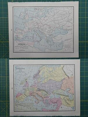 Europe Vintage Original 1895 Crams World Atlas Map Lot