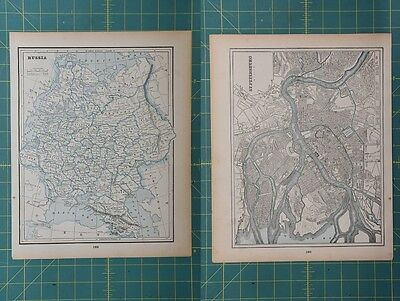 Russia St. Petersburg Vintage Original 1893 Columbian World Fair Atlas Map Lot