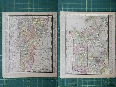 Vermont Massachusetts Vintage Original 1895 Rand McNally World Atlas Map Lot
