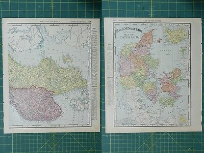 Denmark Vintage Original 1895 Rand McNally World Atlas Map Lot