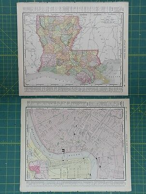 Louisiana New Orleans Vintage Original 1895 Rand McNally World Atlas Map Lot