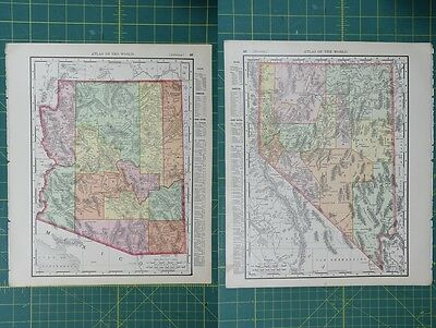 Arizona Nevada Vintage Original 1895 Rand McNally World Atlas Map Lot