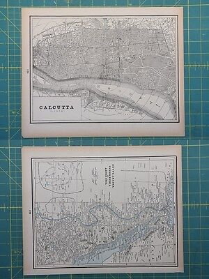 Calcutta Egypt Vintage Original 1893 Columbian World Fair Atlas Map Lot