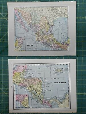 Mexico Central America Vintage Original 1895 Crams World Atlas Map Lot